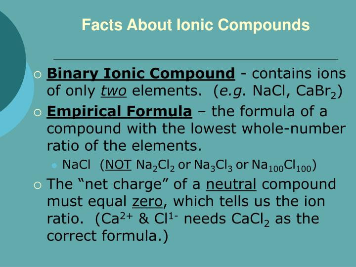 Facts About Ionic Compounds