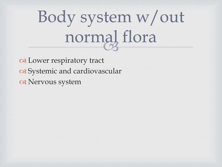 Body system w/out normal flora