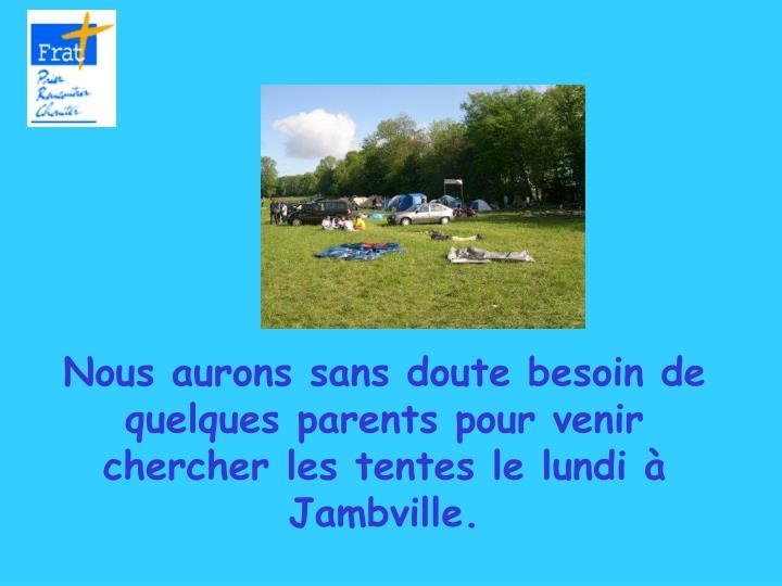 Nous aurons sans doute besoin de quelques parents pour venir chercher les tentes le lundi à Jambville.