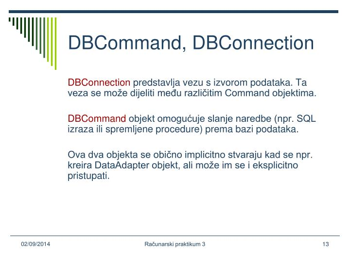 DBCommand, DBConnection