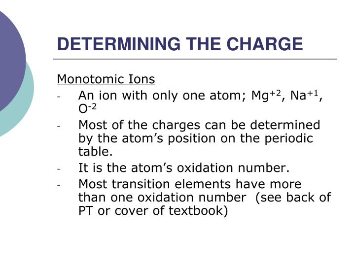 Determining the charge