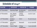 schedule of mirage