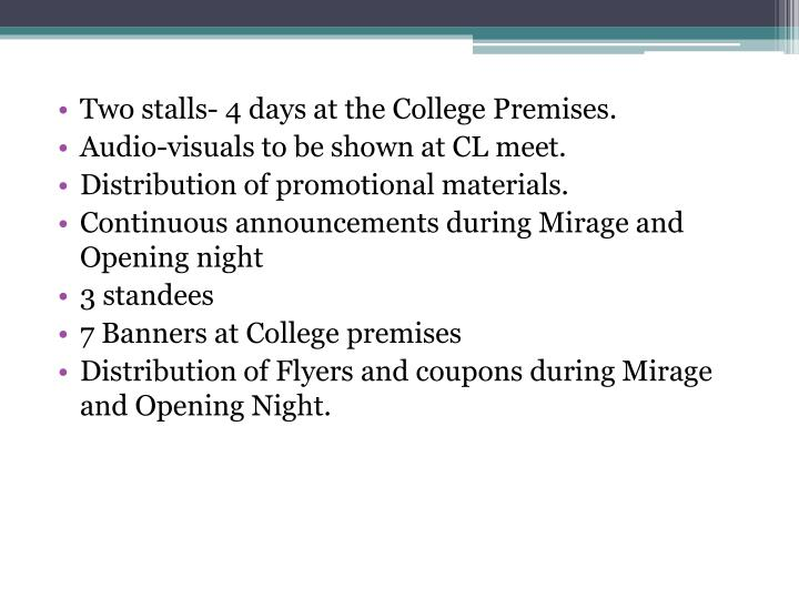 Two stalls- 4 days at the College Premises.