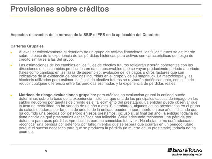 Provisiones sobre créditos