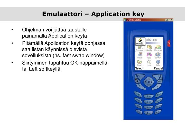 Emulaattori – Application key