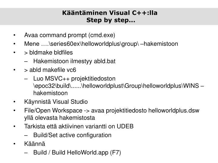 Kääntäminen Visual C++:lla