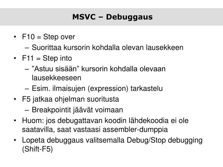 MSVC – Debuggaus