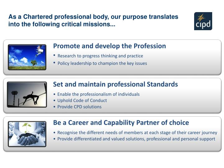 As a Chartered professional body, our purpose translates                                  into the following critical missions...