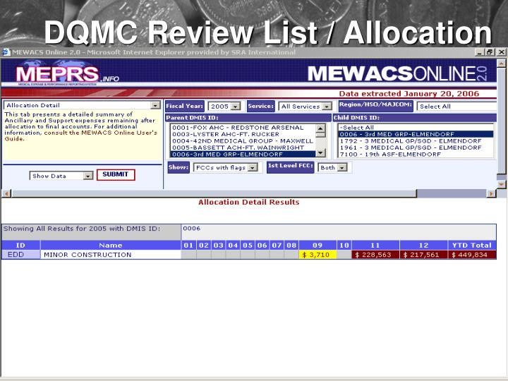 DQMC Review List / Allocation
