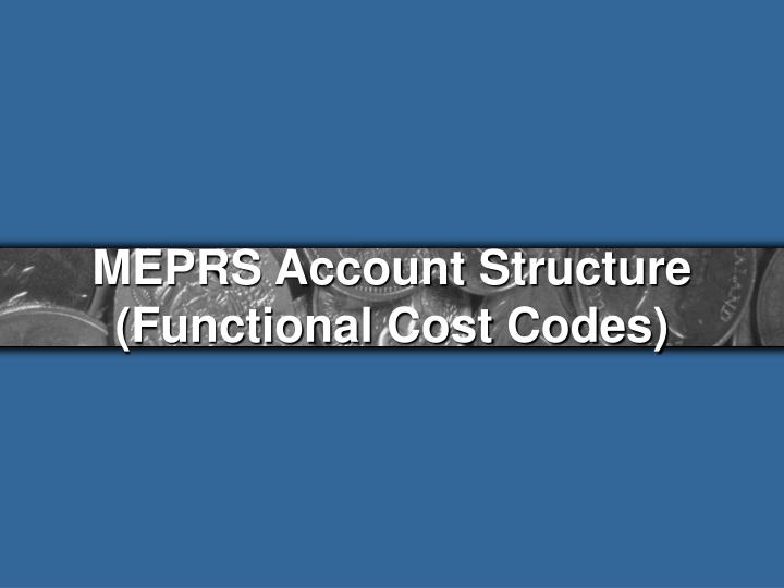 MEPRS Account Structure (Functional Cost Codes)