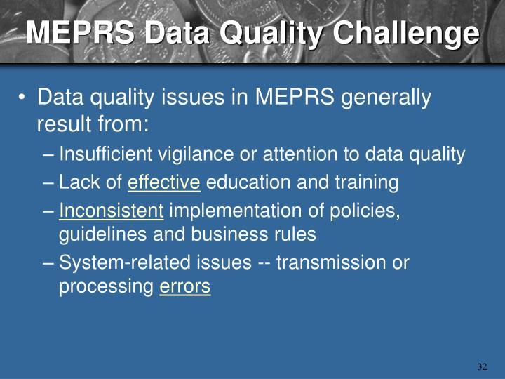MEPRS Data Quality Challenge