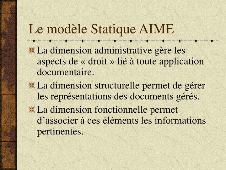 Le modèle Statique AIME