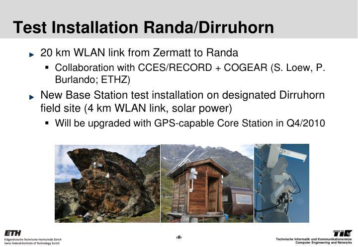 Test Installation Randa/Dirruhorn