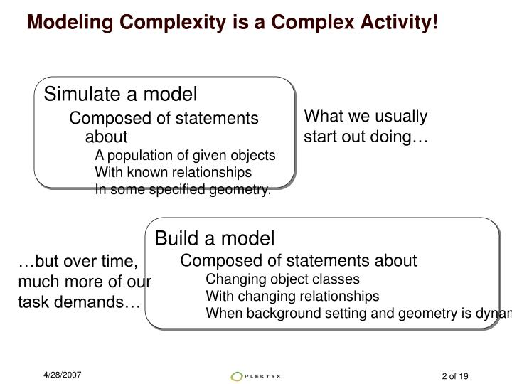 Modeling Complexity is a Complex Activity!