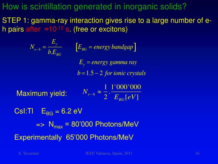 How is scintillation generated in inorganic solids?