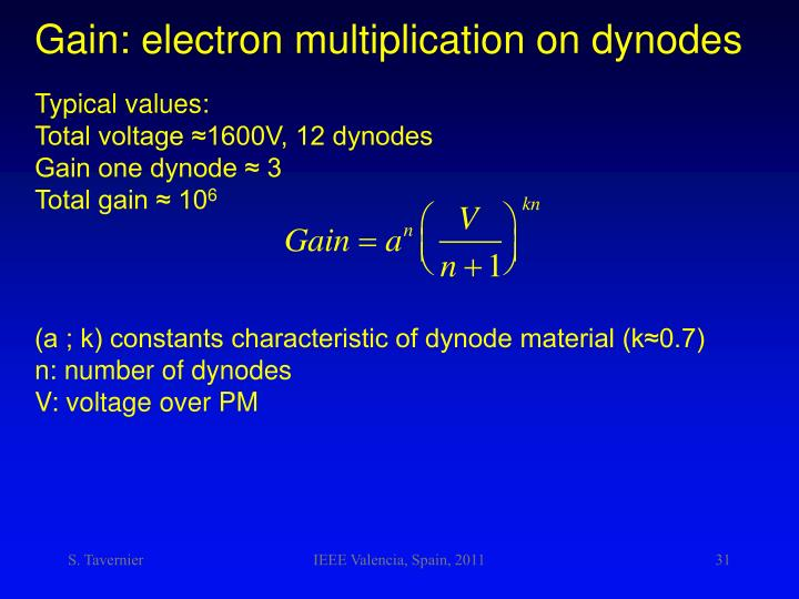 Gain: electron multiplication on dynodes