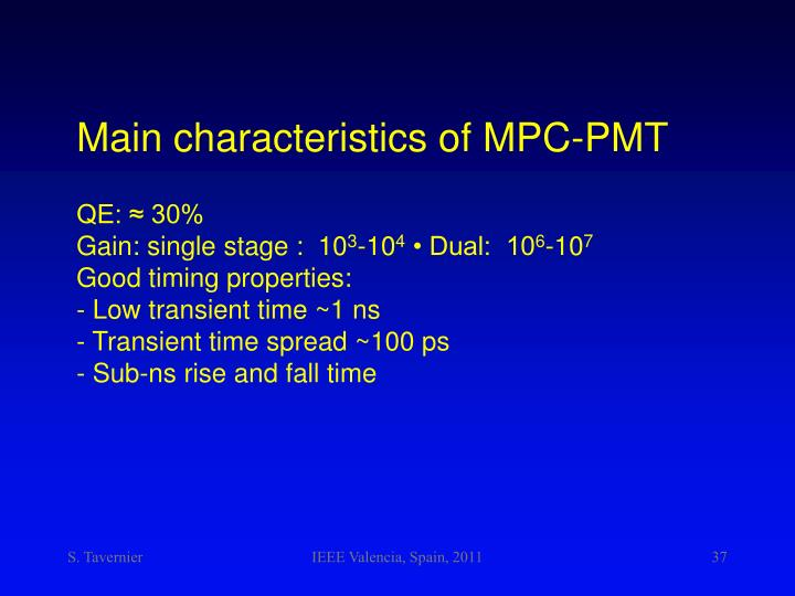 Main characteristics of MPC-PMT