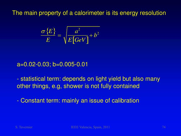 The main property of a calorimeter is its energy resolution