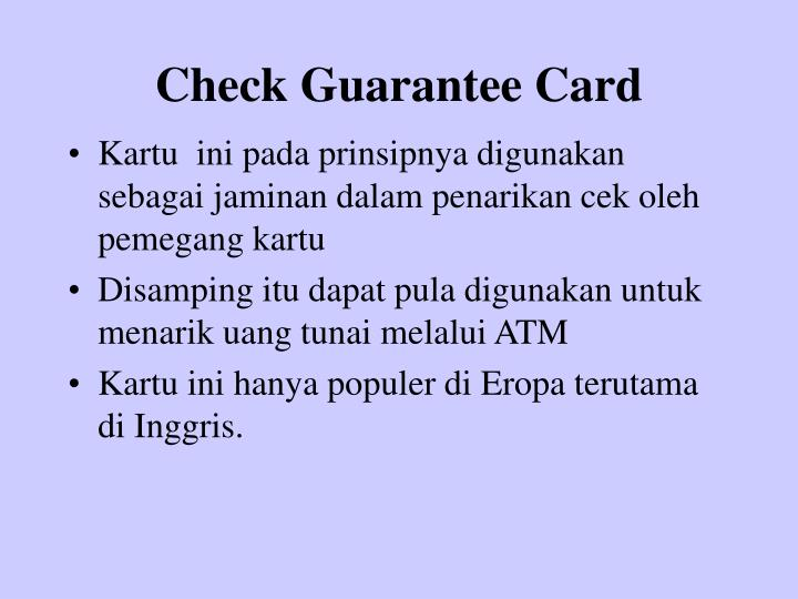 Check Guarantee Card
