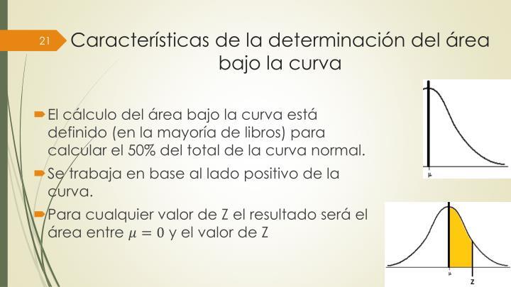 Características de la determinación del área bajo la curva