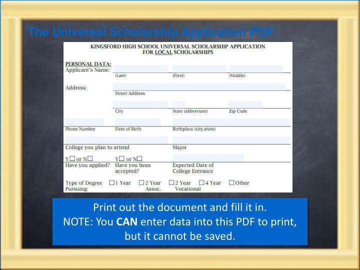The Universal Scholarship Application PDF: