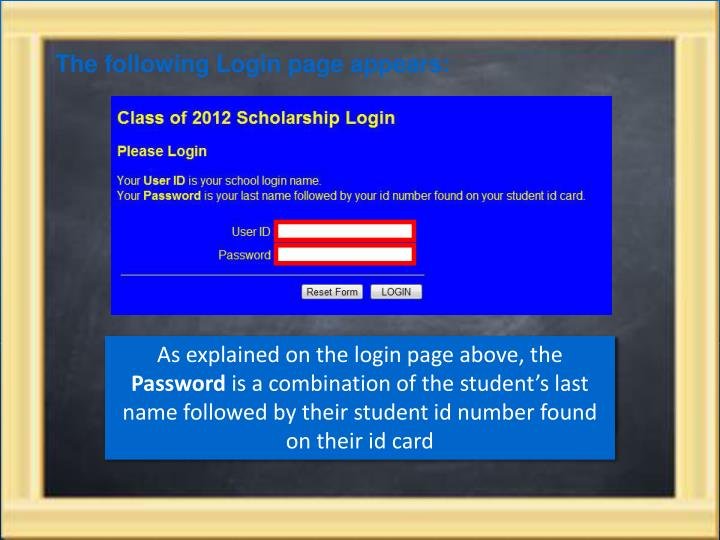 The following Login page appears: