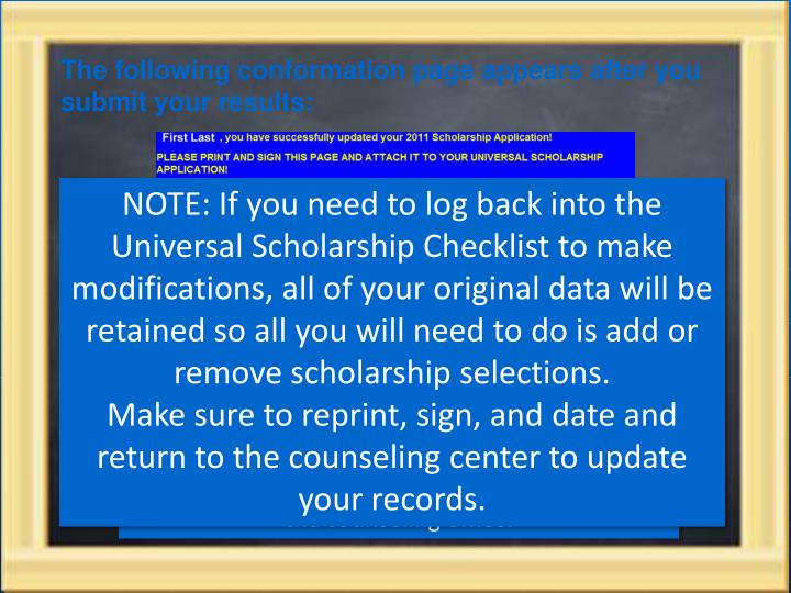 The following conformation page appears after you submit your results: