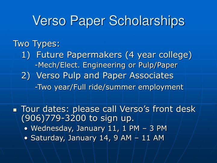 Verso Paper Scholarships
