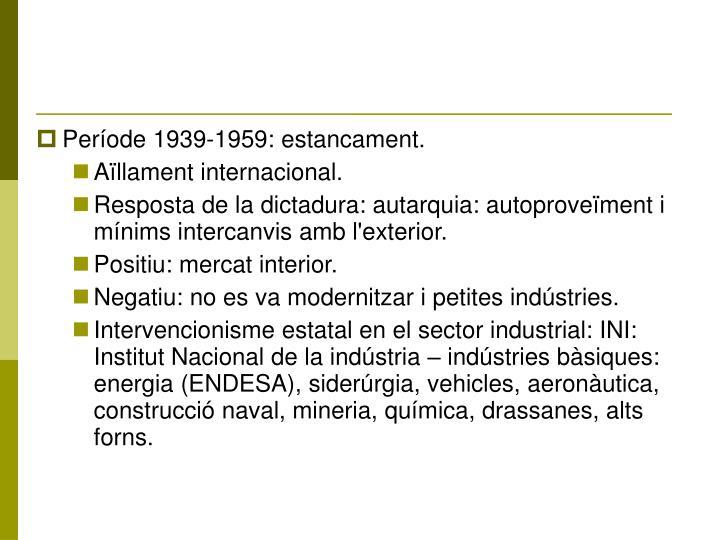Període 1939-1959: estancament.