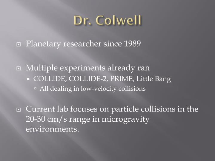 Dr. Colwell