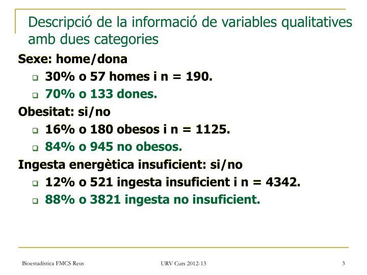 Descripció de la informació de variables qualitatives amb dues categories