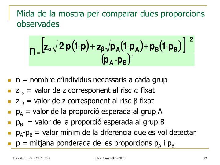 Mida de la mostra per comparar dues proporcions observades