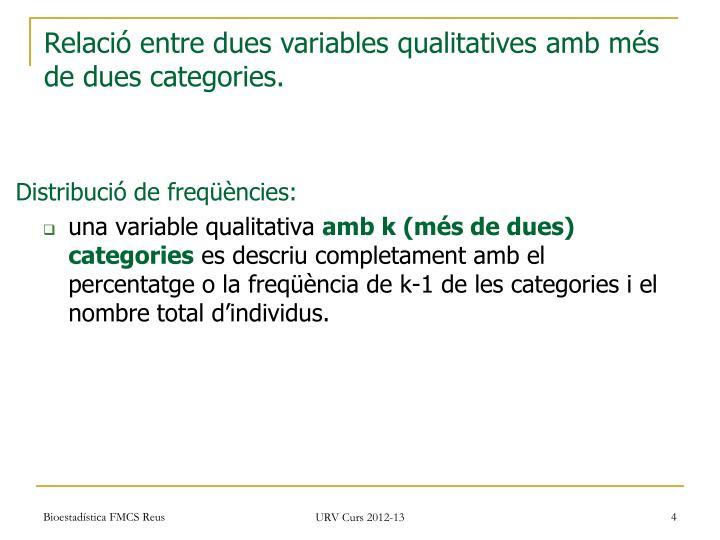 Relació entre dues variables qualitatives amb més de dues categories.