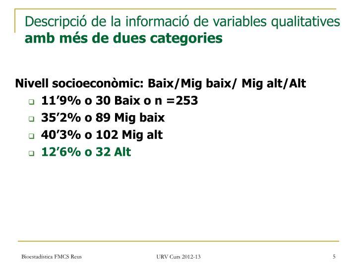 Descripció de la informació de variables qualitatives