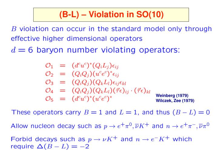 (B-L) – Violation in SO(10)