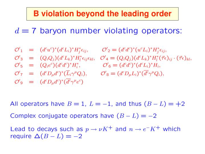 B violation beyond the leading order