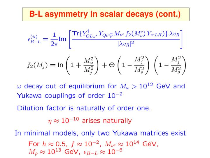 B-L asymmetry in scalar decays (cont.)