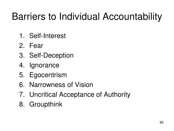 Barriers to Individual Accountability