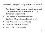 barriers to responsibility and accountability