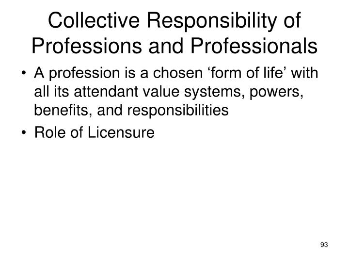 Collective Responsibility of Professions and Professionals