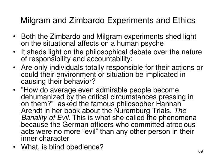 Milgram and Zimbardo Experiments and Ethics