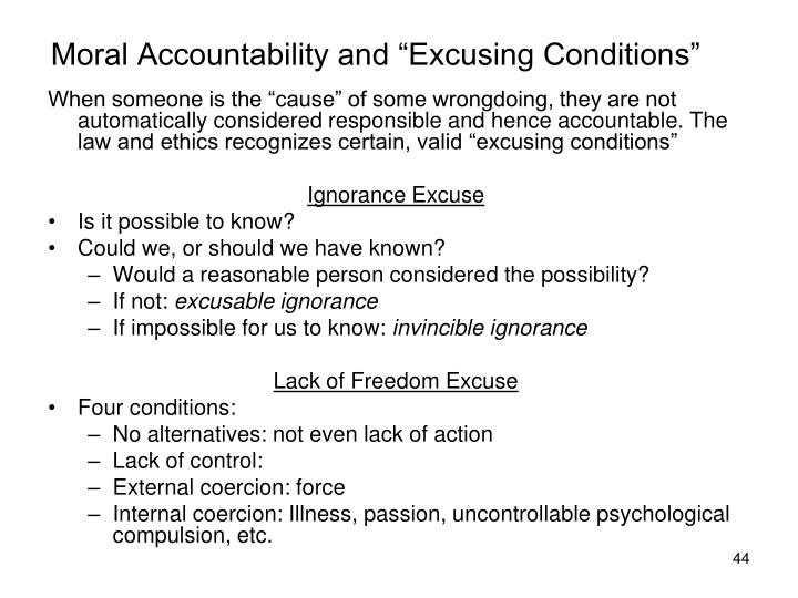 "Moral Accountability and ""Excusing Conditions"""