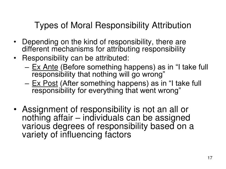 Types of Moral Responsibility Attribution