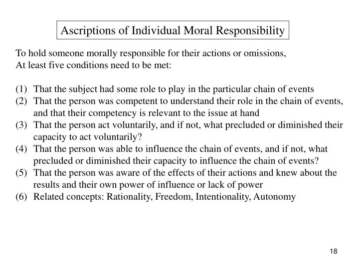 Ascriptions of Individual Moral Responsibility