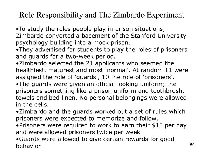 Role Responsibility and The Zimbardo Experiment