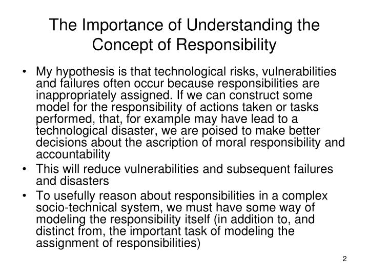 The importance of understanding the concept of responsibility
