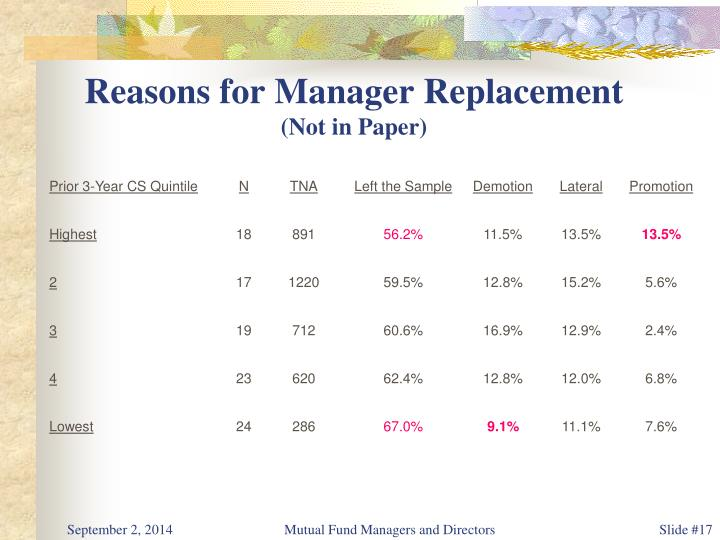 Reasons for Manager Replacement