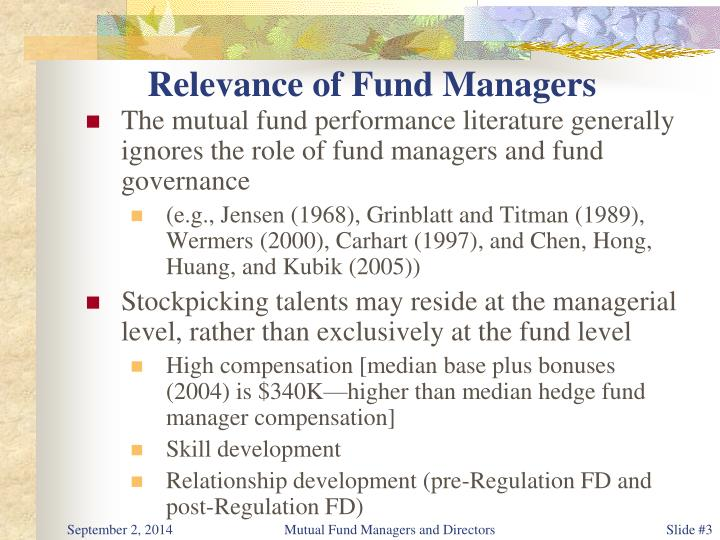 Relevance of fund managers