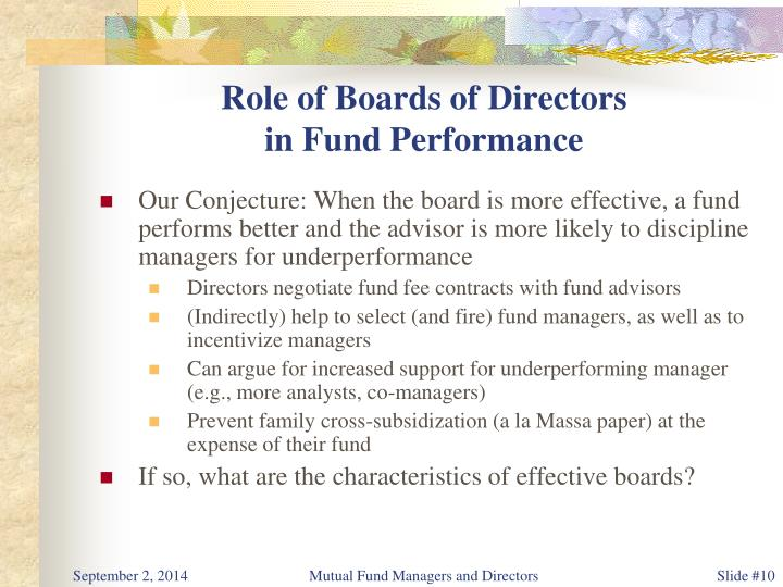 Role of Boards of Directors
