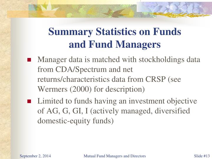 Summary Statistics on Funds